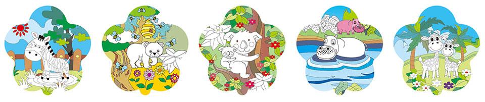 動物園塗鴉彩繪(花朵形)