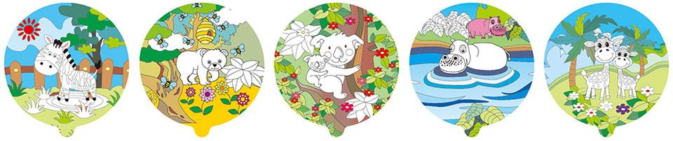 動物園塗鴉彩繪(圓形)