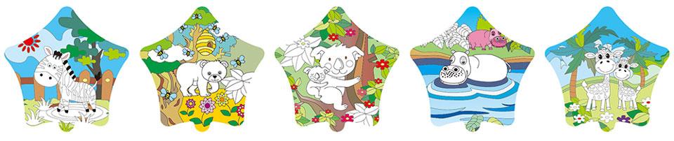 動物園塗鴉彩繪(五角星形)