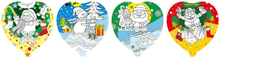 聖誕老人塗鴉彩繪氣球(愛心形)