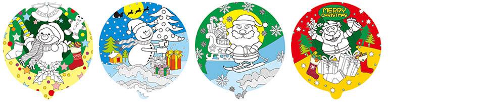聖誕老人塗鴉彩繪氣球(圓形)