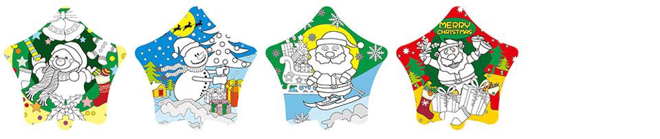 聖誕老人塗鴉彩繪氣球(五角星形)