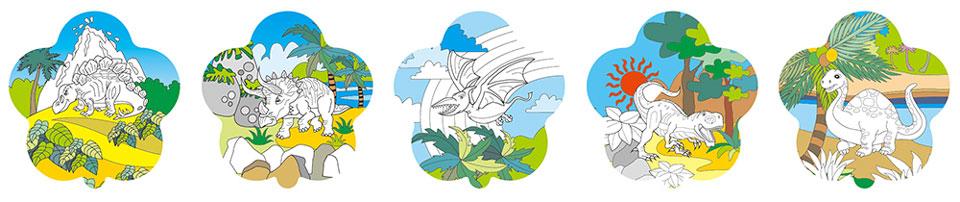 恐龍塗鴉彩繪氣球(花朵形)