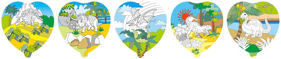恐龍塗鴉彩繪氣球(愛心形)