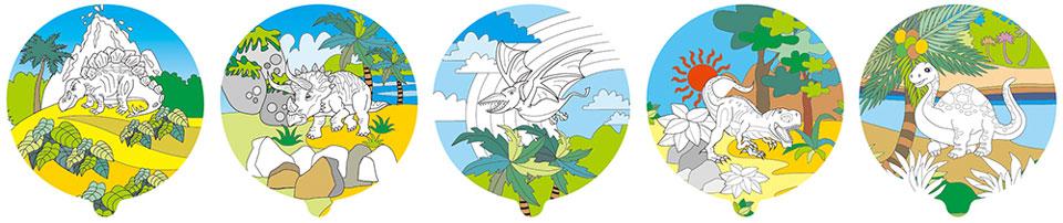 恐龍塗鴉彩繪氣球(圓形)