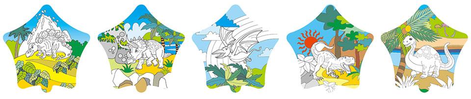 恐龍塗鴉彩繪氣球(五角星形)