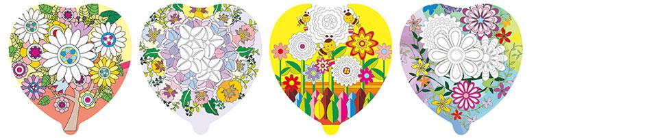 花朵圖案塗鴉彩繪氣球(愛心形)