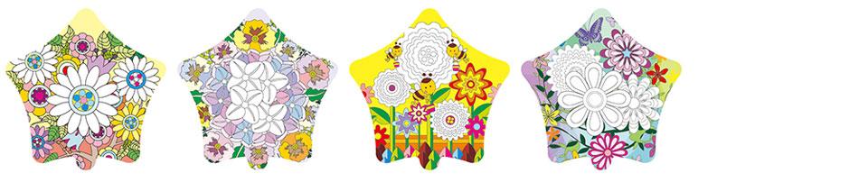 花朵圖案塗鴉彩繪氣球(五角星形)