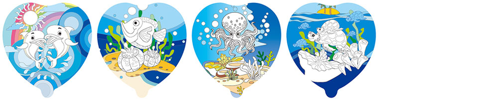 海洋世界塗鴉彩繪氣球(愛心形)