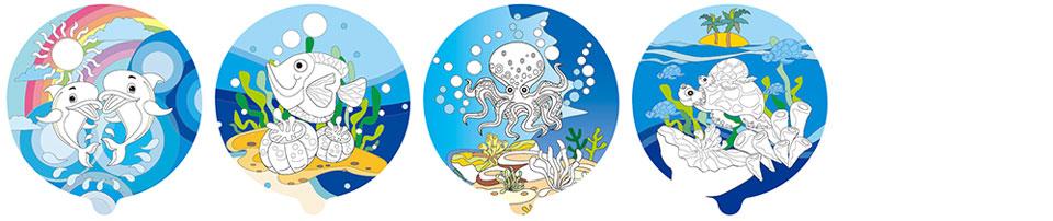 海洋世界塗鴉彩繪氣球(圓形)