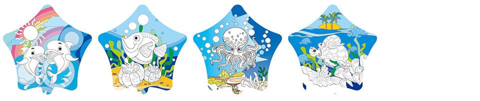 海洋世界塗鴉彩繪氣球(五角星形)