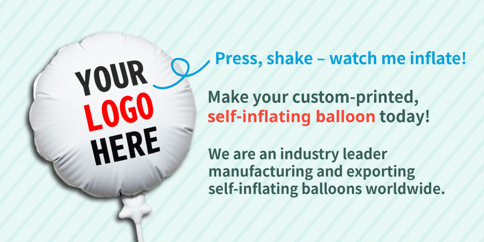 Your logo here! custom printed self inflating balloons
